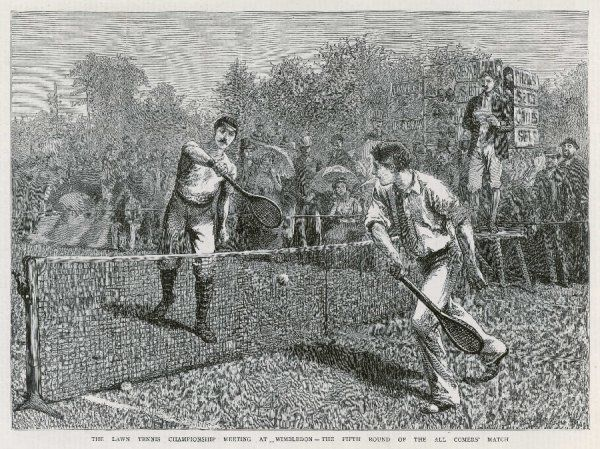 Lawford versus Renshaw in the fifth round of the all-comers' match at the Lawn Tennis Championship at Wimbledon