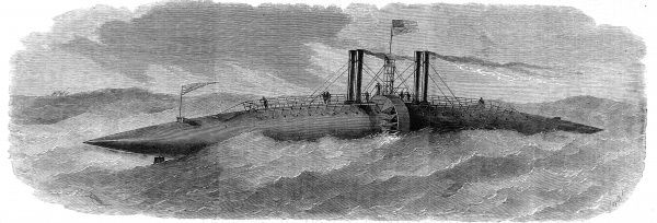 Engraving of the Winans Ocean Steamer 'cigar' ship, launched at Ferry Bay, Baltimore, on 6th October 1858