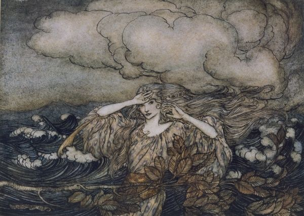 An illustration to a story, 'The Wind and the Waves'. Date: 1911