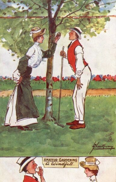 'A Windfall' - a charming postcard from Lance Thackeray's 'Amateur Gardening' series. A lady gives her male companion a taste of the first fallen apple of the season. Date: 1906