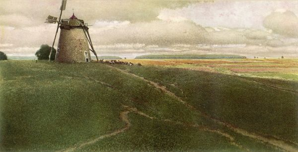 A windmill in a picturesque but rather desolate landscape