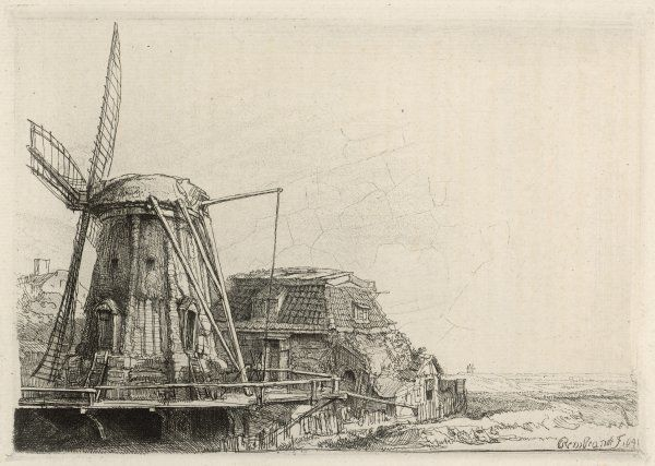 A somewhat dilapidated Dutch windmill