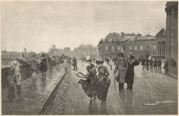 A windy day on the quais of the Rive Gauche : the bouquinistes aren't doing much business at their bookstalls, but les messieurs enjoy the lifted skirts of the ladies
