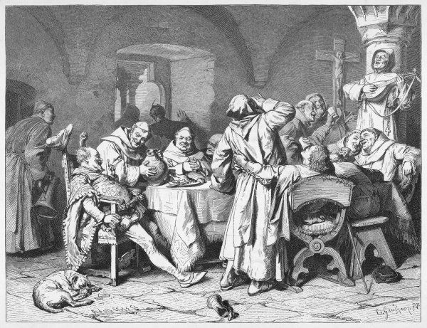 German monks entertain a visitor with the wine of the cloister, while one of their number accompanies the revelry on the lute