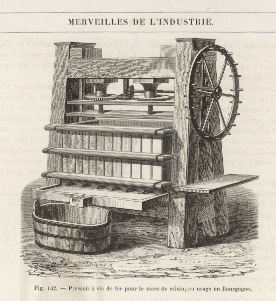 Type of grape press in use in Burgundy which used iron internals for extracting the juice