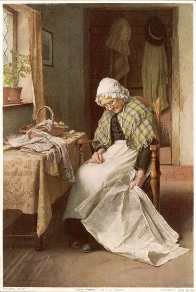 A dear old lady in a mop cap, spectacles and a tartan shawl has fallen asleep at a table in the middle of reading a newspaper and sewing a patchwork quilt