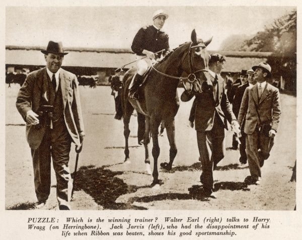 Walter Earl (right) the trainer of the winning horse, Herringbone, ridden by Harry Wragg, is pictured with another trainer, Jack Jarvis, whose horse, Ribbon, was beaten