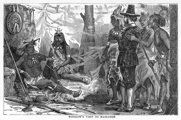 Mr Edward Winslow visits Massasoit, chief of the Pokanokets, to explain their reasons for settling upon his lands