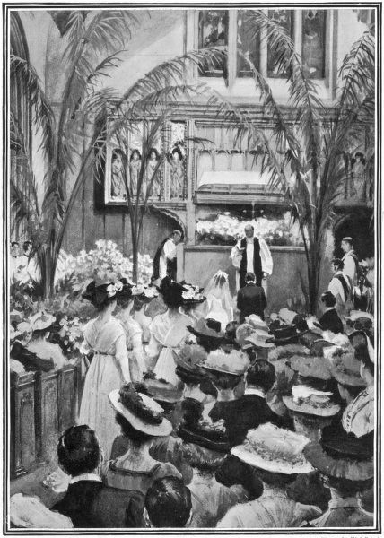 Artist's impression by Wal Paget of the marriage ceremony at St