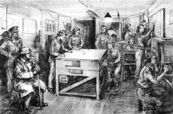 Mr. Churchill at a London gun site during a raid:drawing made on the spot. The premier watches his daughter, subaltern Mary Churchill, in the control room, plotting the raiders course and giving fire orders to the guns