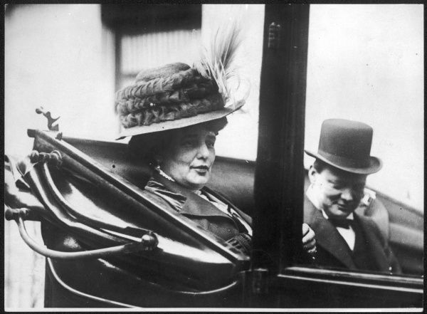 WINSTON CHURCHILL pictured with his mother, Lady Randolph Churchill in 1911