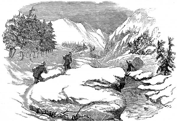 Engraving showing two gold-miners returning to their hut with provisions, during the particularly harsh winter of 1852-3. Over 20 feet of snow fell on the mountains of California and when the thaw came the city of Sacramento was flooded