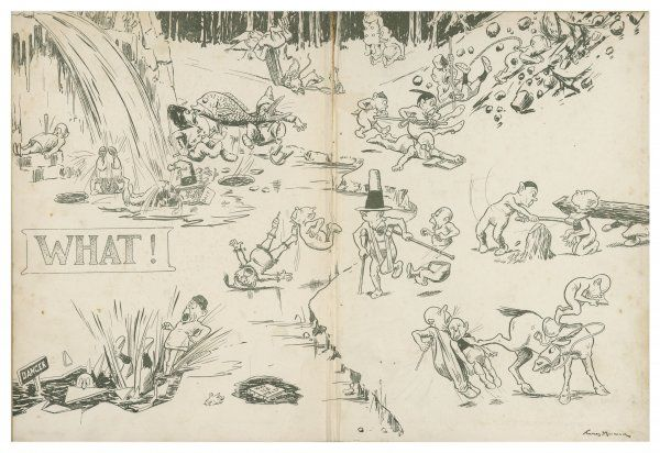 Illustration 2/2 A comical cartoon showing what look like elves or pixies getting into mischief in the snow and ice