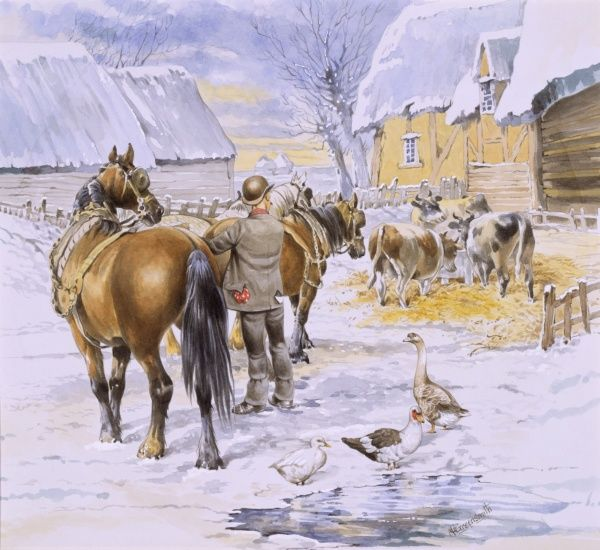 A farmyard scene in winter, with a farmer checking the tack on a team of four working horses, while ducks, geese and cows drink and feed in the yard. Watercolour painting by Malcolm Greensmith