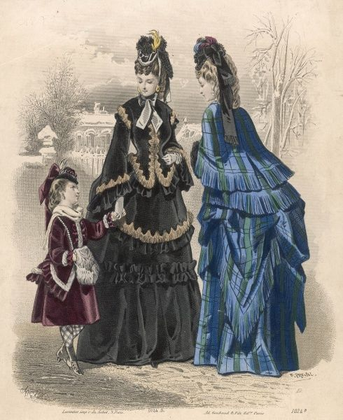 Polonaise costumes (made from 1 fabric only) with double skirts. Plaid: over-skirt cut in long points, short fringed mantle. Black: jacket body with pagoda sleeves
