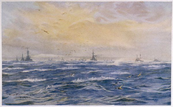 Blustery winter conditions prevail at Scapa Flow; British warships ride the gale