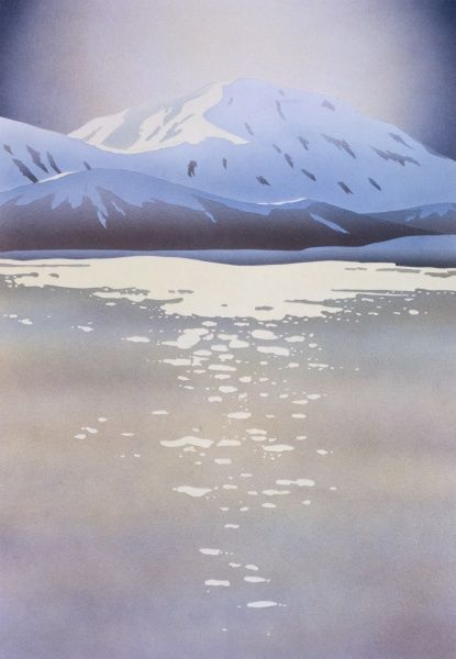 A view toward a snow-capped peak across a cold wintery lake. Painting by Malcolm Greensmith