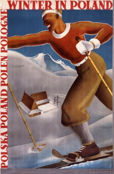 Winter in Poland poster for the Polish tourist office with a tanned cross-country skier dressed in plus fours skiing along a ridge looking down on mountain huts