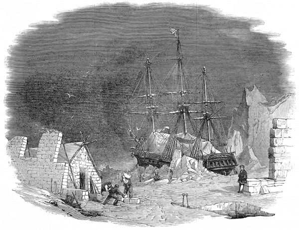 Engraving of an imaginary scene showing a British Arctic expedition in the Arctic, c