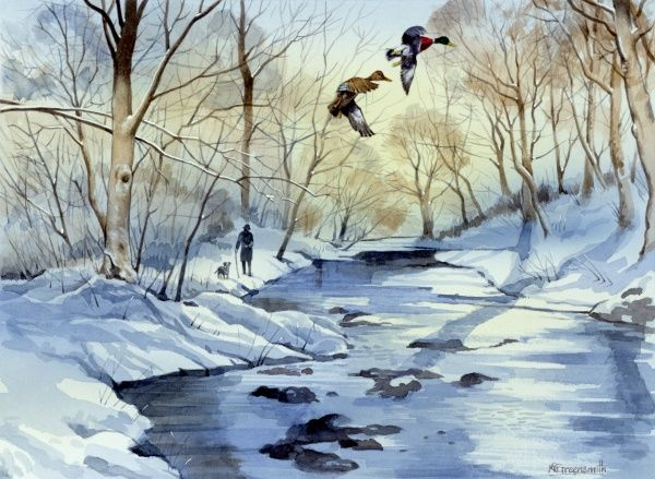 A winter scene in the countryside with a frozen river, snow on the ground, and two flying ducks