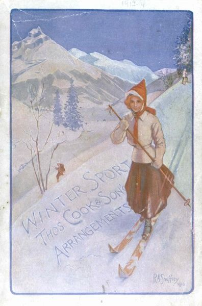 Cover illustration of Winter Sport, Thomas Cook & Son's Arrangements, showing a lady dressed in winter clothes, skiing downhill with one ski pole. Behind her is an alpine scene, with snowy mountains, trees in background, and two other skiers
