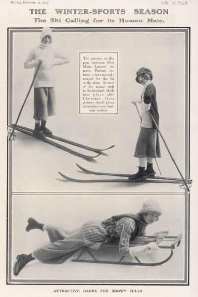 Attractive garbs for snowy hills: Miss Marie Lancret, the pretty Parisian actress chamingly arrayed for the ski or the skate