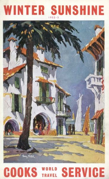 Cover illustration for Winter Sunshine, with Cooks World Travel Service, showing a Mediterranean harbour scene. The whitewashed buildings have balconies, green shutters on the windows and red roofs. There are sailing boats on the quay