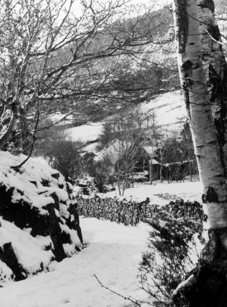 A snow-covered country track in the Sylfaen Valley, near Barmouth, Merionethshire, Wales. Date: 1960s