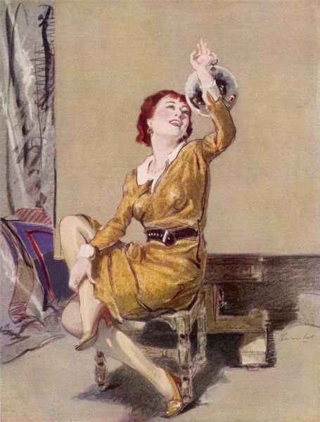 A sassy and bewitching young woman in a mustard yellow dress perches on a stool and gazes at a decoration