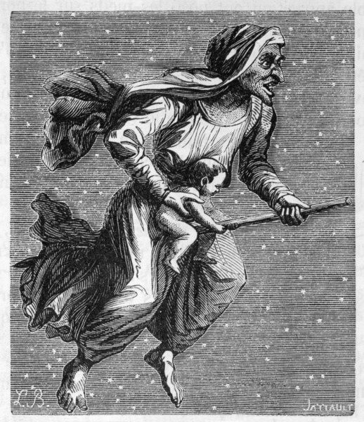 A witch rides through the starlit sky on her broomstick, carrying a baby she has borrowed from its mum