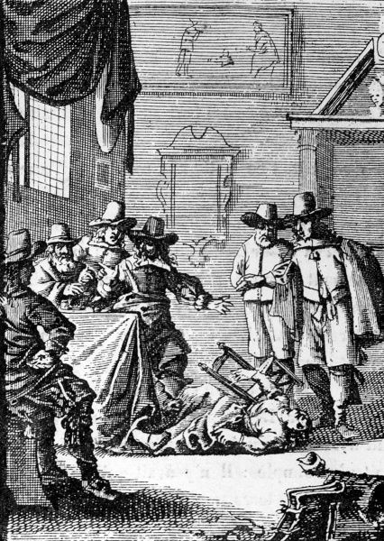 A witch is possessed: the commencement of the attack. Date: 1659