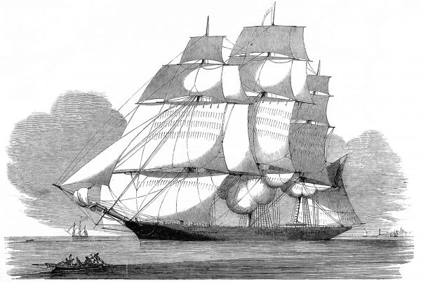 Engraving showing the American Clipper ship, 'Witch of the Wave', Thames Estuary, 1852. This ship, commanded by Captain Millett, brought a large cargo of tea from Canton to London, in a little under four months in 1852