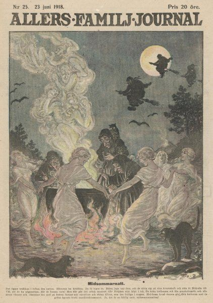 MIDSOMMARNATT in Sweden : While the older witches brew a magic potion, younger ones dance round the cauldron, and cats and bats screech and squeak