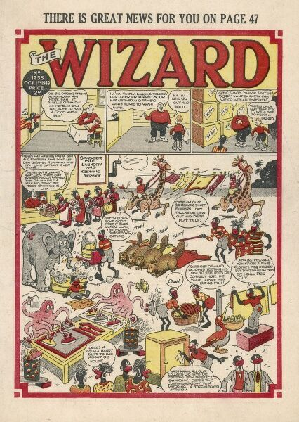 Front cover of The Wizard, depicting various animals