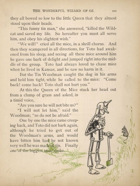 The Queen of the field-mice thanks the Tin Woodman for saving her life