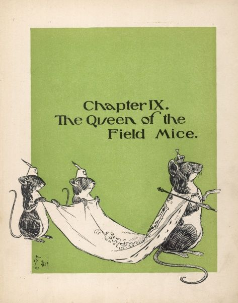 The Queen of the Field Mice with two attendants holding her cloak