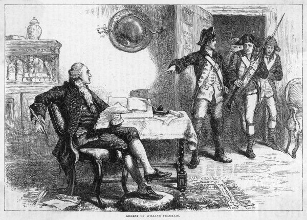 William Franklin (son of Benjamin), governor of New Jersey, supports the British so is arrested by the rebels. He will be exchanged and end his days in England