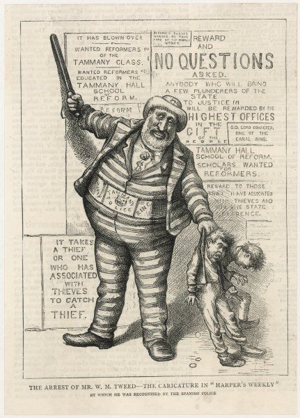 WILLIAM MARCY TWEED known as BOSS TWEED American politician and swindler: the cartoon which enabled the Spanish police to identify and arrest him