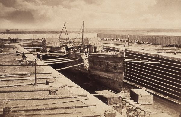 Wolf, mail paddle steamer owned by J and G Burns in dry dock after salvage by Harland and Wolff Date: 1868