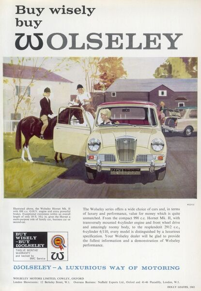 Advertisment for Wolseley Motors Limited featuring an illustration of a woman driving a Wolseley Hornet Mk.II with 998 cc OHV engine and extra powerful brakes