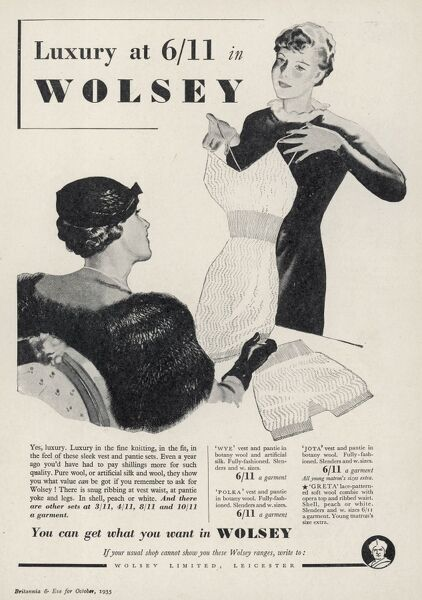 Advertisement for Wolsey clothing, showcasing their 'sleek vest and pantie sets&#39