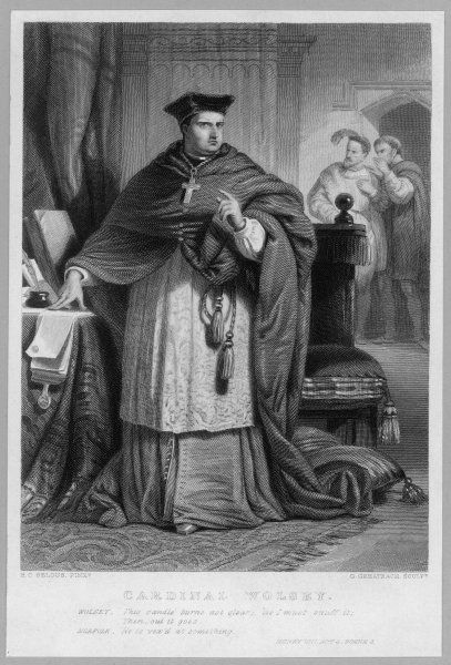 CARDINAL THOMAS WOLSEY English prelate and statesman Full length engraving Date: 1475' - 1530