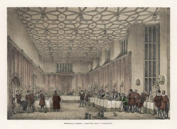 Cardinal Wolsey presides over a banquet in the Presence Chamber, Hampton Court, Middlesex