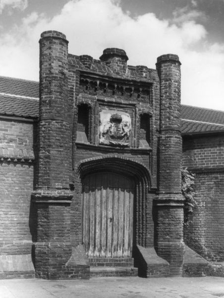 Wolsey's Gateway, Ipswich, Suffolk, England, is all that remains of the proposed (but never built) College of St. Mary, planned by Cardial Wolsey who died in 1530. Date: 1528