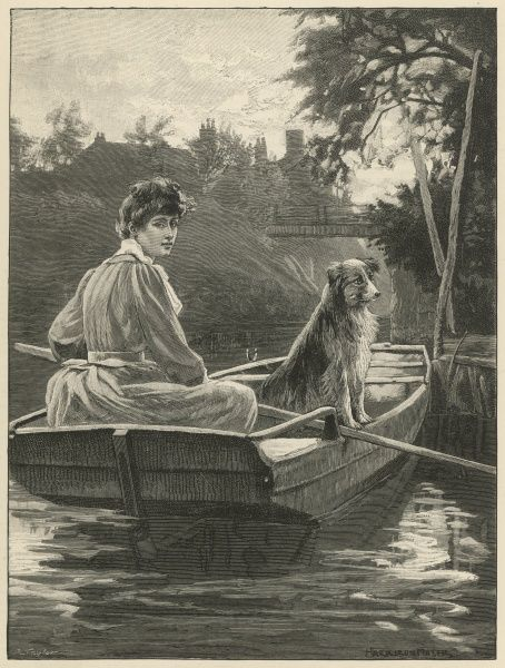 A woman rows a boat along a river. There is no one else around other than the dog perched on his hind legs who sits in the boat with her