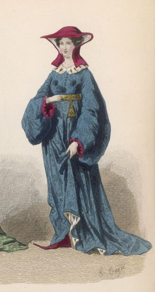 A noblewoman of the period of Charles VI, wearing a high- waisted lined gown