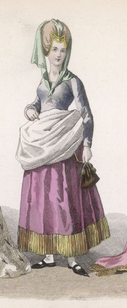 A noblewoman of the period of Charles VI, in a relatively simple dress, with a short skirt (by the standards of the day): she is carrying a handbag