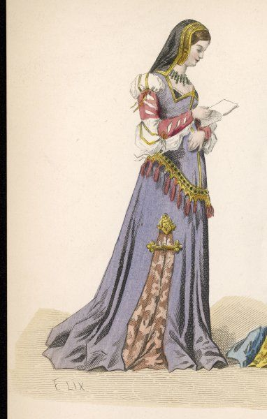 Puff shoulders and a slash down the side of her gown characterise the dress of this noble woman of Charles VIII's reign as she reads a letter
