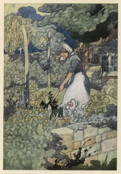 A woman working in a country garden