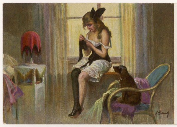 Her dog watches patiently while she darns a stocking in her underclothes